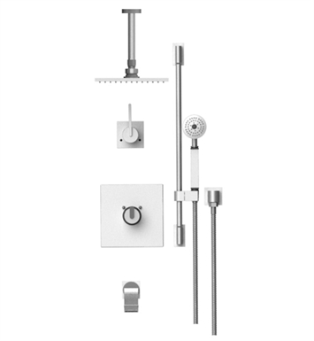 "Rubinet 25RTLCHCH R10 Temperature Control Tub & Shower with Three Way Diverter & Shut-Off, Handheld Shower, Bar, Integral Supply & Wall Mount Tub Filler Spout and Ceiling Mount 8"" Shower Head & Arm With Finish: Main Finish: Chrome 