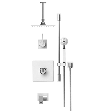 "Rubinet 28RTLCHCH R10 Temperature Control Tub & Shower with Three Way Diverter & Shut-Off, Handheld Shower, Bar, Integral Supply, Wall Mount Bidet/Foot Rinse and Ceiling Mount 8"" Shower Head & Arm With Finish: Main Finish: Chrome 