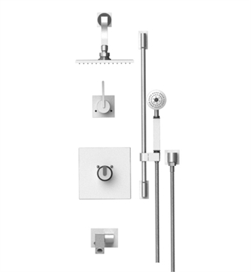 "Rubinet 27RTL R10 Temperature Control Tub & Shower with Three Way Diverter & Shut-Off, Handheld Shower, Bar, Integral Supply, Wall Mount Bidet/Foot Rinse and Wall Mount 8"" Shower Head & Arm"