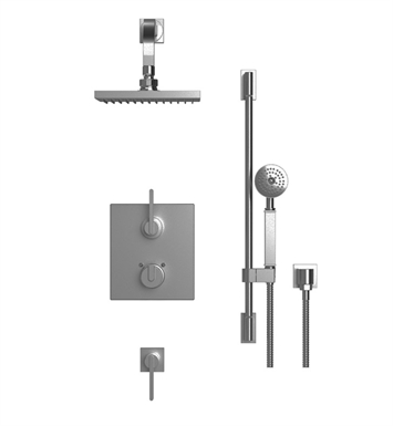 "Rubinet 41RTLSNBK R10 Temperature Control Shower with Wall Mount 8"" Shower Head, Bar, Integral Supply & Hand Held Shower With Finish: Main Finish: Satin Nickel 