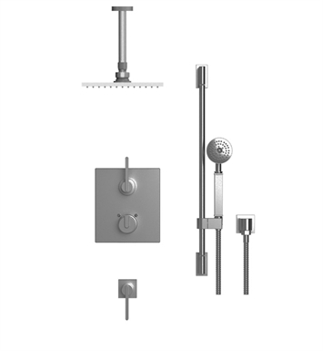 "Rubinet 42RTQ R10 Temperature Control Shower with Ceiling Mount 8"" Shower Head, Bar, Integral Supply & Hand Held Shower"