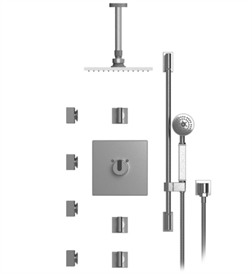 "Rubinet 47RTLSNSN R10 Temperature Control Shower with Ceiling Mount 8"" Shower Head, Bar, Integral Supply, Hand Held Shower & Four Body Sprays With Finish: Main Finish: Satin Nickel 