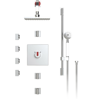 "Rubinet 46RTLRDRD R10 Temperature Control Shower with Wall Mount 8"" Shower Head, Bar, Integral Supply, Hand Held Shower & Four Body Sprays With Finish: Main Finish: Red 