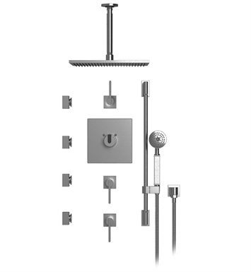 "Rubinet 48RTLSNSN R10 Temperature Control Shower with Ceiling Mount 14"" Shower Head, Bar, Integral Supply, Hand Held Shower & Four Body Sprays With Finish: Main Finish: Satin Nickel 