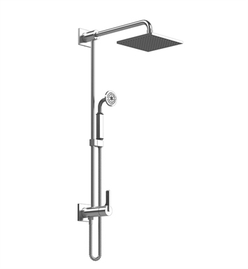 Rubinet 4URT1CHAQ R10 Bar with Inlet at Diverter, Shower Head,Shower Arm, Adjustable Slide Bar and Hand Held Shower with Diverter With Finish: Main Finish: Chrome | Accent Finish: Aqua