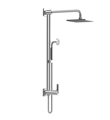 Rubinet 4URT2WHCH R10 Bar with Inlet at Shower Head, Shower Arm, Adjustable Slide Bar and Hand Held Shower with Diverter With Finish: Main Finish: White | Accent Finish: Chrome