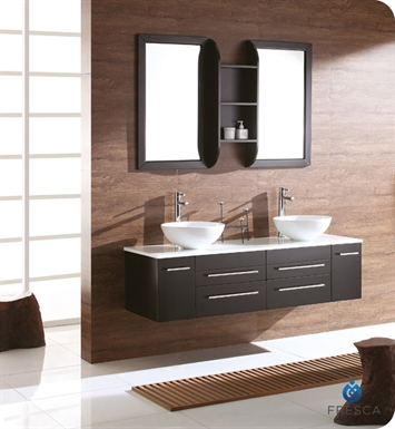 Fresca Bellezza Espresso Modern Double Round Vessel Sink Bathroom Vanity
