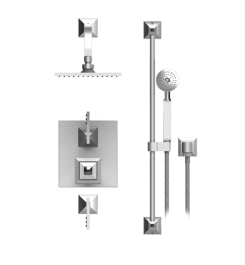 "Rubinet 41ICLSNSNCL Ice Temperature Control Shower with Wall Mount 8"" Shower Head, Bar, Integral Supply & Hand Held Shower With Finish: Main Finish: Satin Nickel 