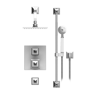 "Rubinet 41ICQ Ice Temperature Control Shower with Wall Mount 8"" Shower Head, Bar, Integral Supply & Hand Held Shower"