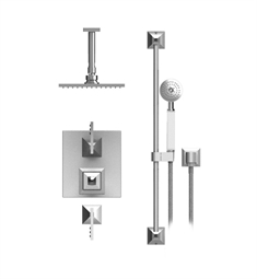 "Rubinet Ice 42ICL Temperature Control Shower with Ceiling Mount 8"" Shower Head, Bar, Integral Supply & Hand Held Shower"