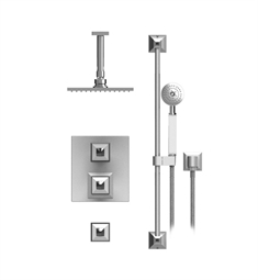 "Rubinet Ice 42ICQ Temperature Control Shower with Ceiling Mount 8"" Shower Head, Bar, Integral Supply & Hand Held Shower"