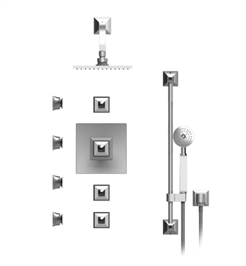 "Rubinet 46ICQCHCHJT Ice Temperature Control Shower with Wall Mount 8"" Shower Head, Bar, Integral Supply, Hand Held Shower & Four Body Sprays With Finish: Main Finish: Chrome 