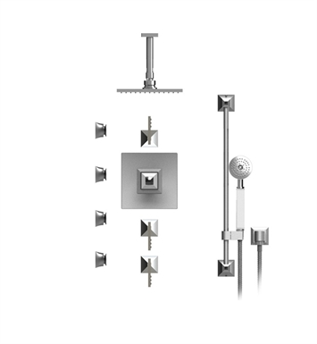 "Rubinet 47ICLGDGDJT Ice Temperature Control Shower with Ceiling Mount 8"" Shower Head, Bar, Integral Supply, Hand Held Shower & Four Body Sprays With Finish: Main Finish: Gold 