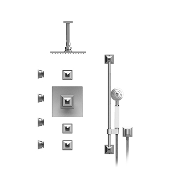 "Rubinet 47ICQSNSN Ice Temperature Control Shower with Ceiling Mount 8"" Shower Head, Bar, Integral Supply, Hand Held Shower & Four Body Sprays With Finish: Main Finish: Satin Nickel 