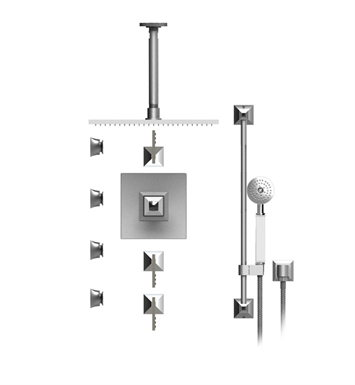 "Rubinet 48ICLSNSNJT Ice Temperature Control Shower with Ceiling Mount 14"" Shower Head, Bar, Integral Supply, Hand Held Shower & Four Body Sprays With Finish: Main Finish: Satin Nickel 