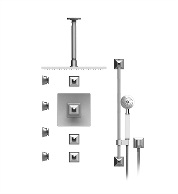 "Rubinet 48ICQGDGDCL Ice Temperature Control Shower with Ceiling Mount 14"" Shower Head, Bar, Integral Supply, Hand Held Shower & Four Body Sprays With Finish: Main Finish: Gold 