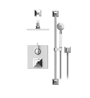 "Rubinet 21ICLCHCHJT Ice Temperature Control Shower with Two Way Diverter & Shut-Off, Handheld Shower, Bar, Integral Supply & Wall Mount 8"" Shower Head & Arm With Finish: Main Finish: Chrome 