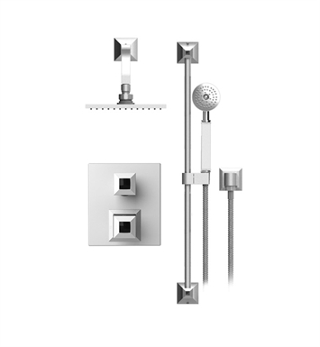 "Rubinet 21ICQCHCH Ice Temperature Control Shower with Two Way Diverter & Shut-Off, Handheld Shower, Bar, Integral Supply & Wall Mount 8"" Shower Head & Arm With Finish: Main Finish: Chrome 