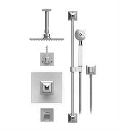 "Rubinet Ice 25ICL Temperature Control Tub & Shower with Three Way Diverter & Shut-Off, Handheld Shower, Bar, Integral Supply & Wall Mount Tub Filler Spout and Ceiling Mount 8"" Shower Head & Arm"