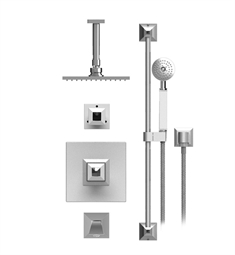 "Rubinet Ice 25ICQ Temperature Control Tub & Shower with Three Way Diverter & Shut-Off, Handheld Shower, Bar, Integral Supply & Wall Mount Tub Filler Spout and Ceiling Mount 8"" Shower Head & Arm"