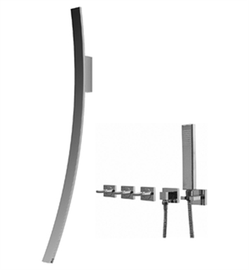 Graff Luna Wall Mounted Tub Filler with Wall Mounted Handles and Handshower Set