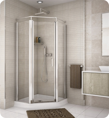 "Fleurco E36-11-50  Banyo Sevilla 36"" Semi Frameless Neo Angle Pivot Door With Hardware Finish: Bright Chrome And Glass Type: Paris Point Glass (Frosted)"