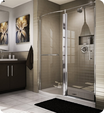 Fleurco EHC60 Banyo Sevilla Roman Semi Frameless Pivot Door with Curved Fixed Panel