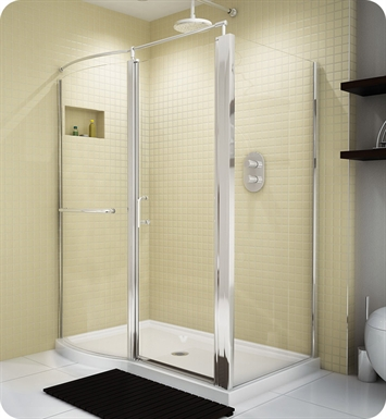 Fleurco EHC6036 Banyo Sevilla Roman RP Semi Frameless Pivot Door with Curved Fixed Panel and Return Panel