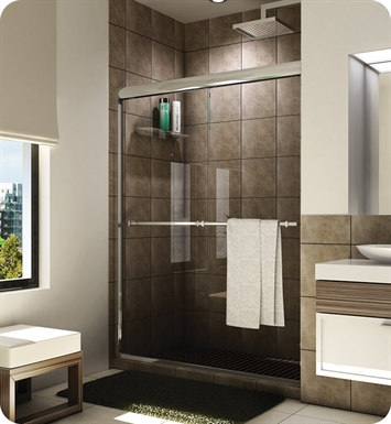 "Fleurco Banyo Verona Semi Frameless In Line 60"" Sliding Shower Doors With Hardware Finish: Brushed Nickel And Glass Type: Paris Point Glass (Frosted)"