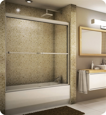 "Fleurco Banyo Verona 60"" Semi Frameless In Line Sliding Tub Doors With Hardware Finish: Bright Chrome And Glass Type: Paris Point Glass (Frosted)"