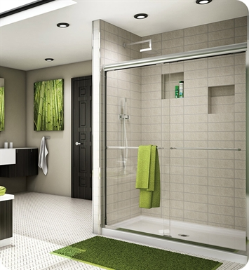 "Fleurco ES1048-11-40 Banyo Cordoba Semi Frameless In Line Sliding Shower Doors With Dimensions: Width: 44"" to 48""  Approx. entry: 24"" And Hardware Finish: Bright Chrome And Glass Type: Clear Glass"