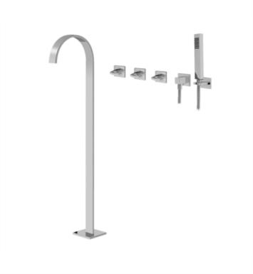 "Graff G-1853-C14U Sade 41 1/8"" Floor Mounted Tub Filler with Wall Mount Handshower and Diverter"