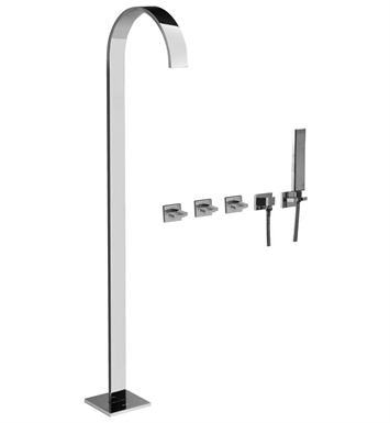 Graff G-1853-C14U-SN Sade Floor Mounted Tub Filler with Wall Mounted Handshower and Diverter With Finish: Steelnox (Satin Nickel)