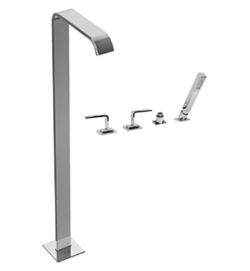Graff G-2354-LM40-SN Immersion Floor Mounted Tub Filler with Deck Mounted Handshower and Diverter LM40 Handle Set With Finish: Steelnox (Satin Nickel)
