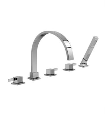 "Graff G-6251-LM39B-PN Qubic Tre 8 1/2"" Double Handle Widespread/Deck Mounted Roman Tub Faucet with Hand Shower With Finish: Polished Nickel"