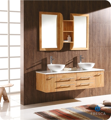 Fresca FVN6119NW-FVS8110WH Bellezza Natural Wood Modern Double Round Vessel Sink Bathroom Vanity