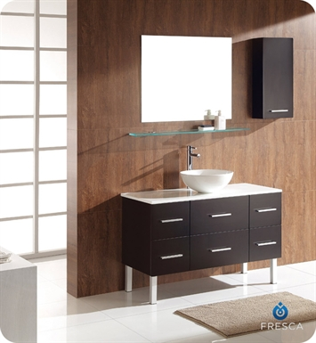 Fresca FVN6123ES-FVS8110WH Distante Espresso Modern Bathroom Vanity with Round Sink, Mirror and Side Cabinet