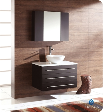 Fresca Modello Espresso Modern Bathroom Vanity with Round Sink and Medicine Cabinet
