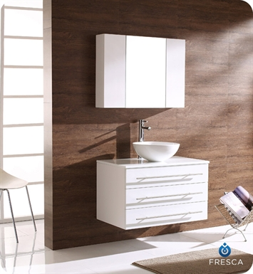 Fresca FVN6183WH-FVS8110WH Modello Modern Bathroom Vanity with Round Sink and Medicine Cabinet in White