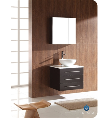 Fresca FVN6185ES-FVS8110WH Modella Modern Bathroom Vanity with Round Sink and Medicine Cabinet in Espresso