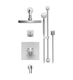 "Rubinet LaSalle 24LAL Temperature Control Tub & Shower with Three Way Diverter & Shut-Off, Handheld Shower, Bar, Integral Supply & Wall Mount Tub Filler Spout and Wall Mount 8"" Shower Head & Arm"