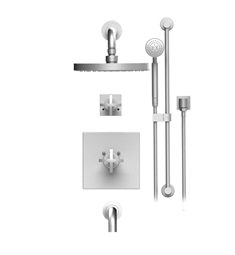 "Rubinet LaSalle 24LAC Temperature Control Tub & Shower with Three Way Diverter & Shut-Off, Handheld Shower, Bar, Integral Supply & Wall Mount Tub Filler Spout and Wall Mount 8"" Shower Head & Arm"