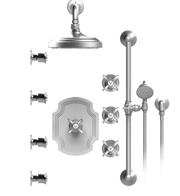 "Rubinet 46RVCSBWH Raven Temperature Control Shower with Wall Mount 8"" Shower Head, Bar, Integral Supply, Hand Held Shower & Four Body Sprays With Finish: Main Finish: Satin Brass 