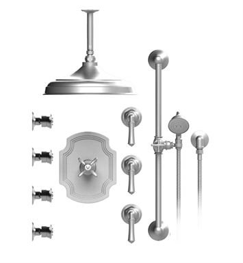 "Rubinet 48RVLSNSN Raven Temperature Control Shower with Ceiling Mount 12"" Shower Head, Bar, Integral Supply, Hand Held Shower & Four Body Sprays With Finish: Main Finish: Satin Nickel 