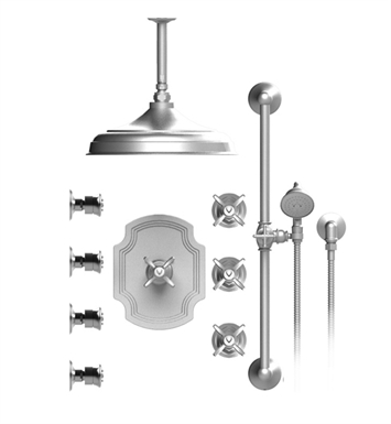 "Rubinet 48RVC Raven Temperature Control Shower with Ceiling Mount 12"" Shower Head, Bar, Integral Supply, Hand Held Shower & Four Body Sprays"