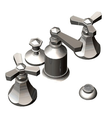 Rubinet 6CHXLCHBB Hexis Bidet Fittings with Spray, Diverter with Built-In Vacuum Breaker & Pop-Up Assembly With Finish: Main Finish: Chrome | Accent Finish: Bright Brass