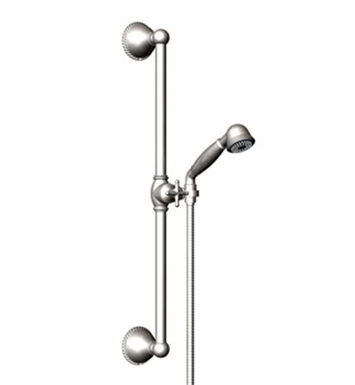 Rubinet 4GET0CHBB Etruscan Adjustable Slide Bar & Hand Held Shower Assembly With Finish: Main Finish: Chrome | Accent Finish: Bright Brass