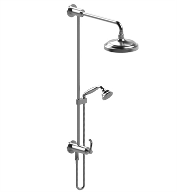 Rubinet 4UET1CHCH Etruscan Bar with Inlet at Diverter, Shower Head,Shower Arm, Adjustable Slide Bar and Hand Held Shower with Diverter With Finish: Main Finish: Chrome | Accent Finish: Chrome