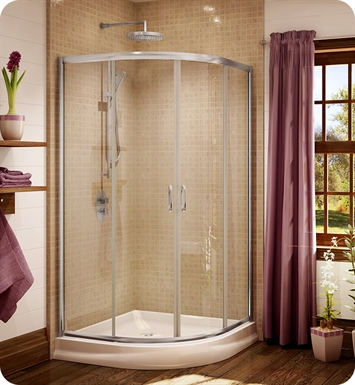 "Fleurco FA40-11-65  Signature Capri Round 4 Frameless Curved Glass 40"" Sliding Shower Doors With Hardware Finish: Bright Chrome And Glass Type: Prism Glass"