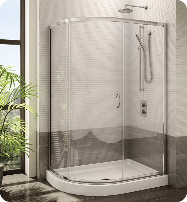 Fleurco fa483 signature capri half round frameless curved for Shower doors for sale